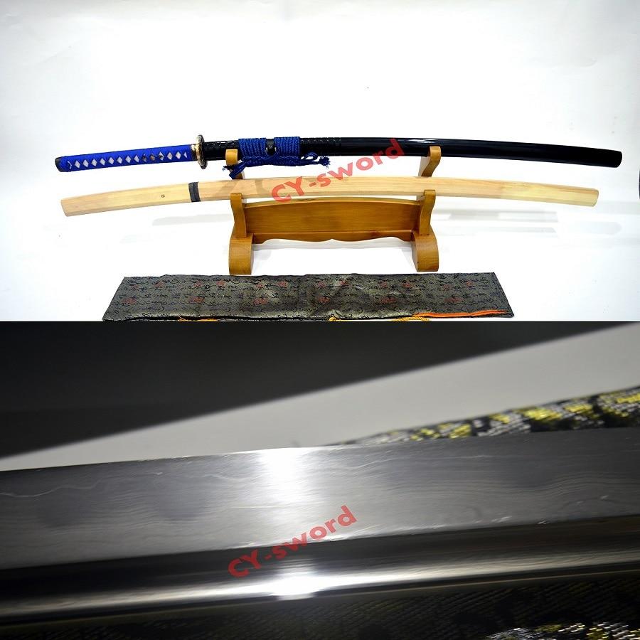 Handmade Katana Japanese Samurai font b Sword b font Real Clay Tempered Honsanmai Hazuya Blade Functional