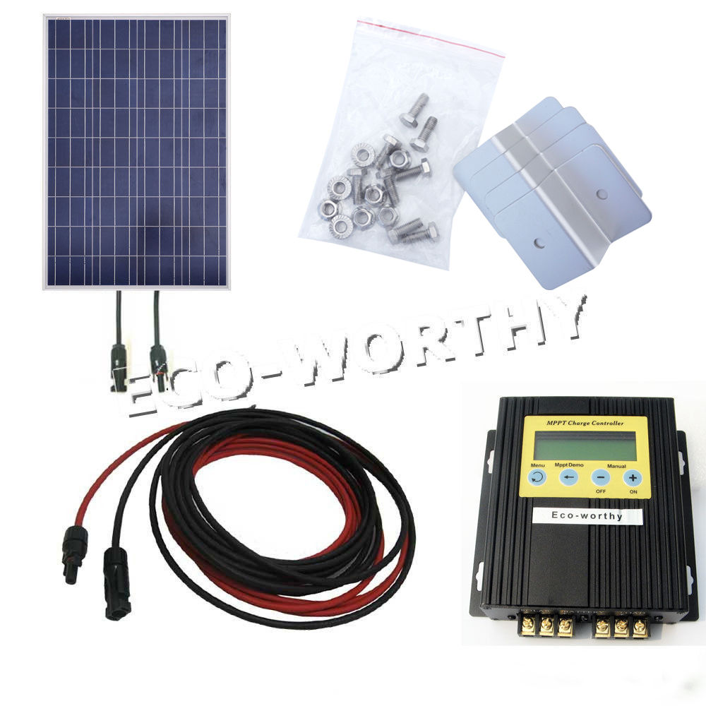 100Watt Solar Panel with MPPT Controller Bracket for 12V Home Battery Charger Solar Generators