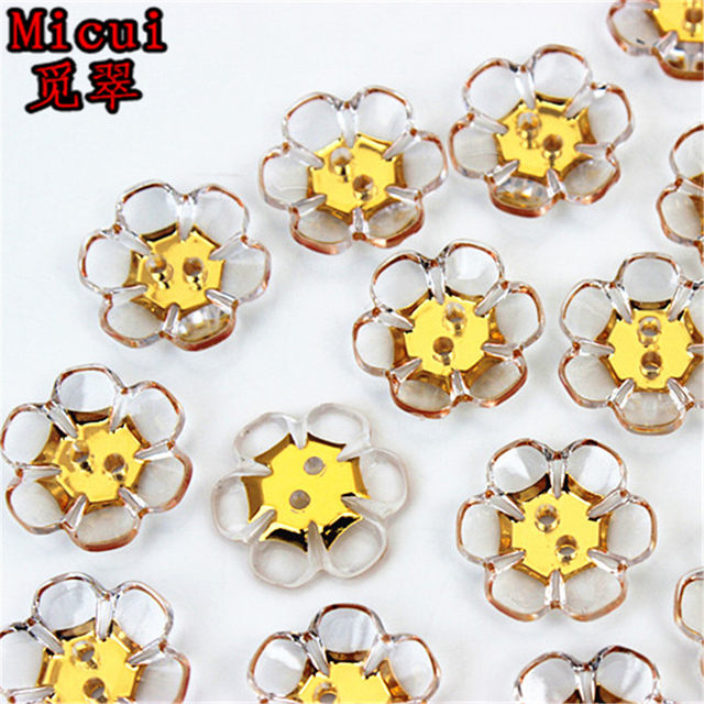 Online Shop Micui 100pcs 1618mm Sewing Clear Flower Rhinestone