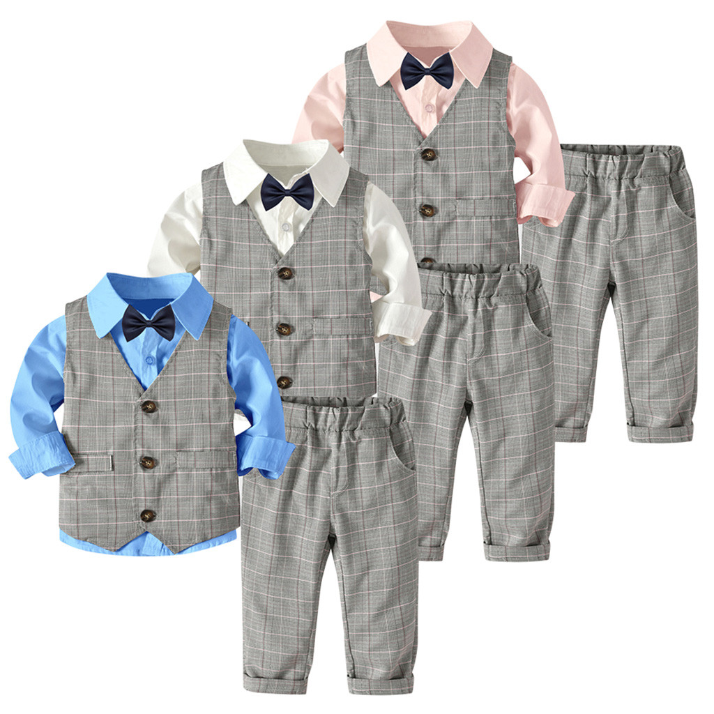4pc Boy Suit Set Lime Green Bow Tie Vest Baby Toddler Kid Formal Pants S-7