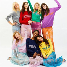 High Quality Cashmere Sweater Women Knitted Jumper Monday Tuesday Wednesday Thursday Friday Saturday Sunday Rainbow Week Sweater