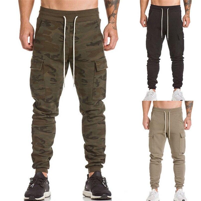 Cotton Men Full Sportswear Pants Casual Elastic Cotton Mens Fitness Workout Pants Sweatpants Trousers Jogger Pant #F40OT31 (16)