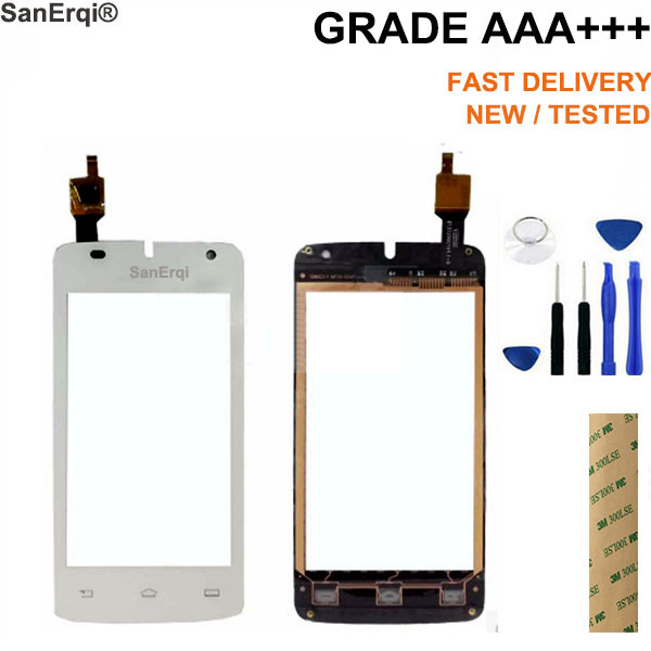 SanErqi Tested  4.0'' Touch Screen  For philips W536 Touch Screen Digitizer Sensor Front Glass Lens Free 3M Tape Free Tools