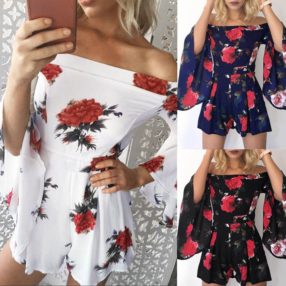 3d9e51aca6 Rompers womens jumpsuit shorts 2018 fashion Women Beach Floral Prints  Jumpsuit Clubwear Bodycon Playsuit combishort femme ete-in Rompers from  Women s ...