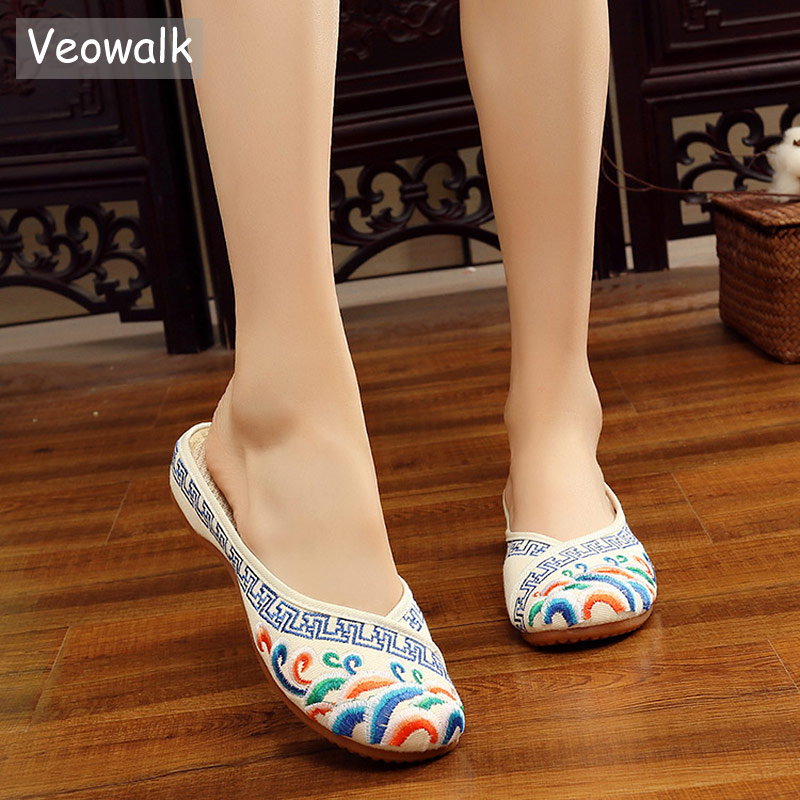 Veowalk Handmade Cotton Flower Embroidery Slippers Summer Fashion Women Chinese Style Casual Shoes Woman Breathable Flip Flops veowalk handmade fashion women ballerinas dancing shoes chinese flower embroidery soft casual shoes cloth walking flats