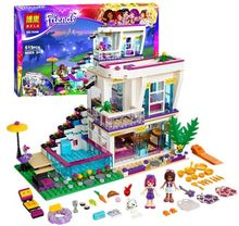 Bela 10498 Friends Series Livi's Pop Star House Model building kits compatible with lego city 3D blocks toys for children