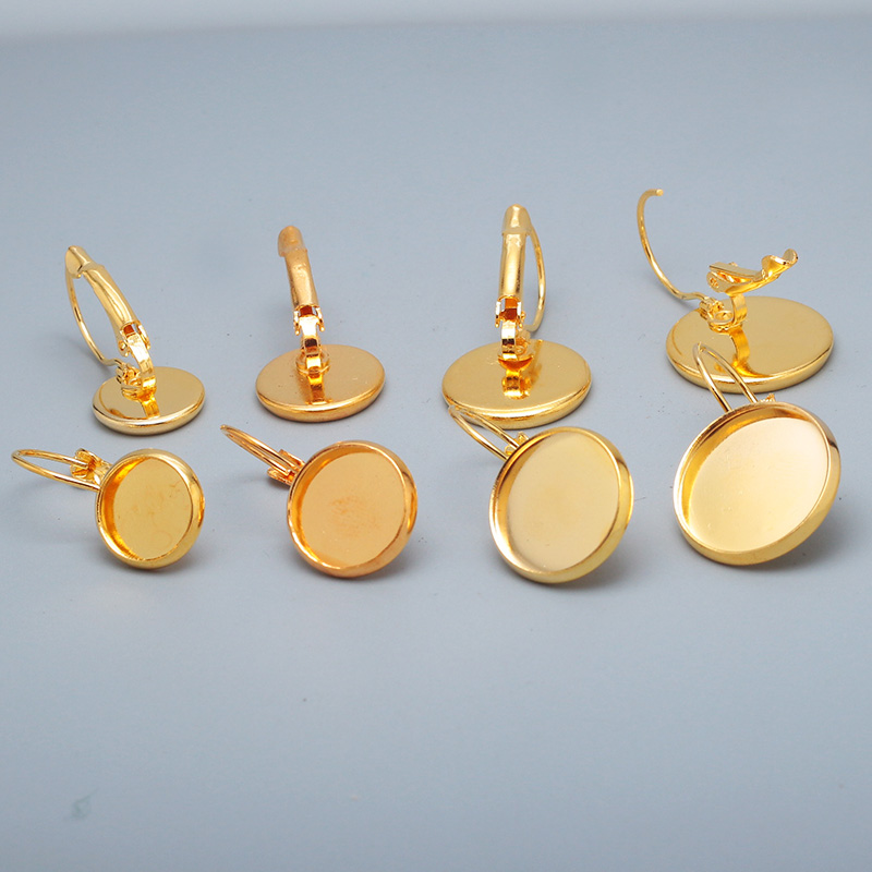 Gold Plated Metal Copper French Lever Back Earring Base Blank Pad Earring Components For Jewelry Making 20pcs/lot E5026