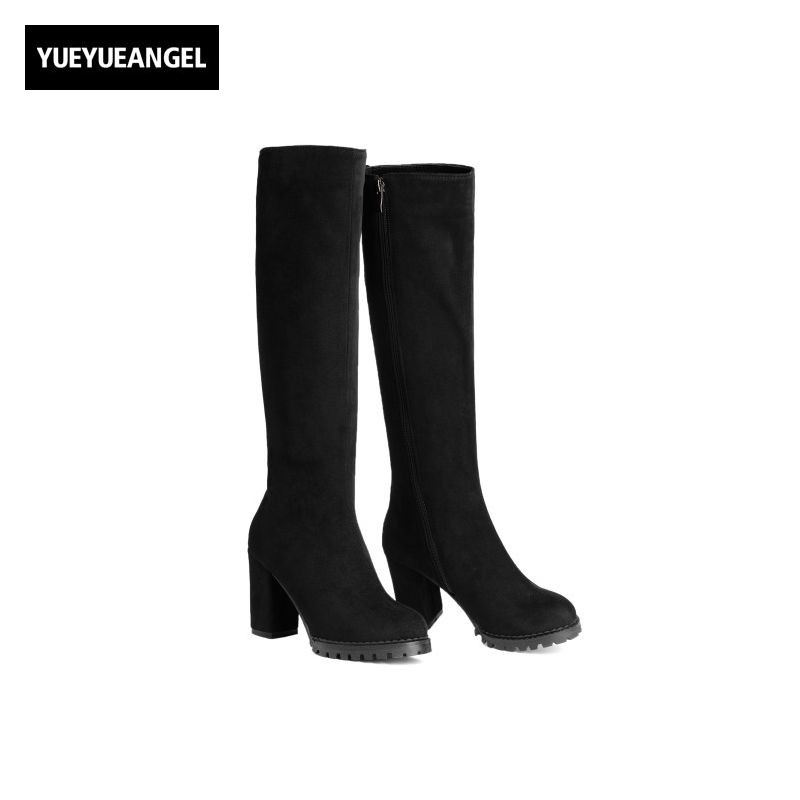 2017 New Fashion Womens Pu Leather Knee High Boots Round Toe Female Shoes Super High Heel Autumn Zipper Footwear Zapatos Mujer цена и фото