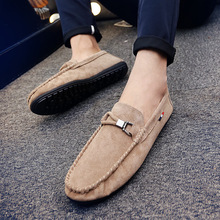 Spring And Autumn Fashion Breathable Men's Shoes 2019 New PU Suede Nen's Casual Shoes Luxury Brand Men's Flat Shoes Driving Shoe