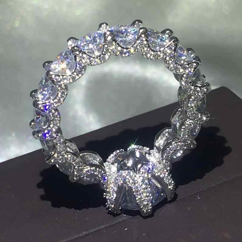 วินเทจดอกไม้ 925 เงินสเตอร์ลิงแหวน AAAAA CZ หินแหวนหมั้นแหวนเครื่องประดับ