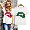 2016 T shirt Women Tops Tees Printed Lips Tshirt Vetement Femme T-shirt Woman Clothes Poleras De Mujer Camisetas Femininas
