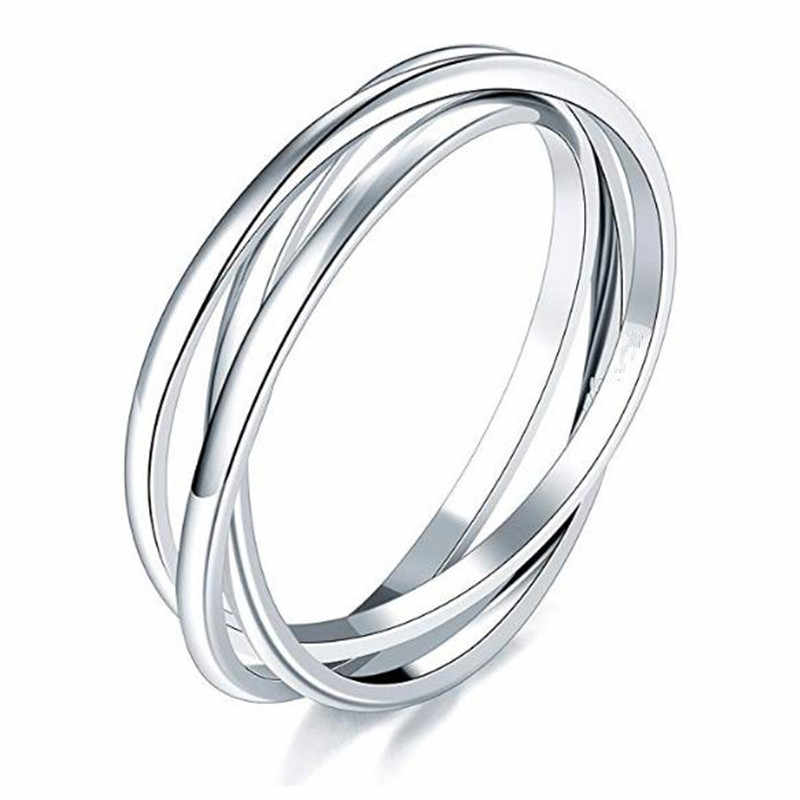 Fashion Stainless Steel Silver Ring Triple Interlocked Rolling High Polish Ring for Women friendship ring