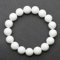 12mm High Quality Nature Pure White Tridacna Jade Bracelets Round Beads Giant Clam Bangles Jade Jewellery
