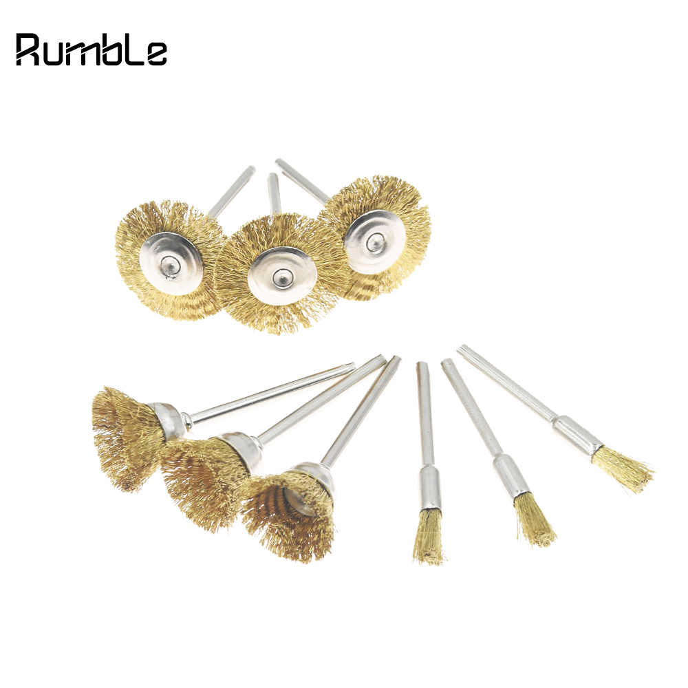 10pcs Brass Wire Brush Fits For Dremel Rotary Tool Accessory 3mm Shank Polishing Head Grinder Grinding Carving Hand Tool