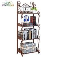 4 Layers Iron art bookshelf Storage Holder Kitchen Organizer Racks Rust proof pipe Bathroom toiletries Shelf furniture