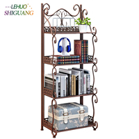 4 Layers Iron art bookshelf Storage Holder Kitchen Organizer Racks Rust proof pipe Bathroom toiletries Shelf furniture