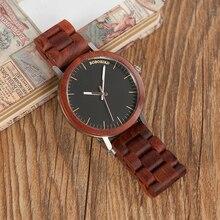 בובו ציפור אדום עץ להקת שעונים גברים טבעי בעבודת יד יפן תנועת קוורץ עץ שעוני יד relogio masculino C M16