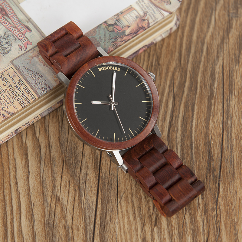 BOBO BIRD Red Wooden Band Watches Men Natural Handmade Japan Movement Quartz Wood Wristwatches relogio masculino C-M16 bobo bird lovers dress wooden watches natural wood handmade cool wristwatches with real leather bands