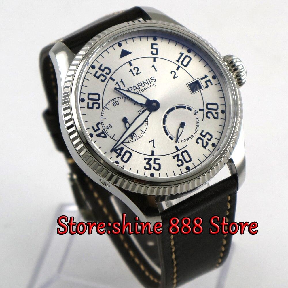 45mm parnis 화이트 다이얼 파워 리저브 st2530 자동식 무브먼트 남자 기계식 손목 시계-에서기계식 시계부터 시계 의  그룹 1