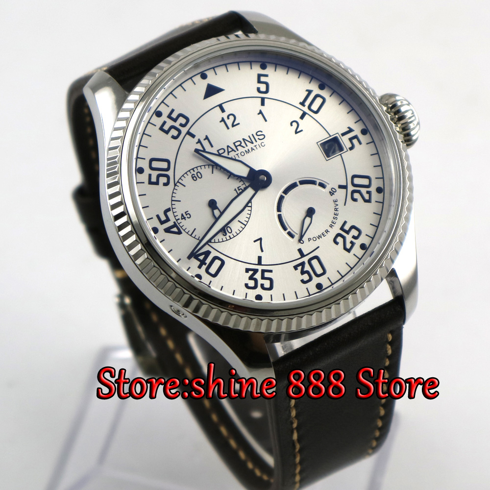 45mm parnis white dial Power Reserve <font><b>ST2530</b></font> Automatic Movement Men's Mechanical Wristwatch image