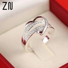 ZN 2019 Fashion Women Rings Half heart-shaped Double Rhinestone  Heart Love Wedding Ring Size 6 7 8 9 Gift