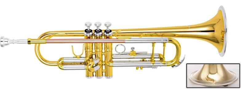 Bb professionnel trompette laiton trompete laque finition avec étui et embout instruments de musique