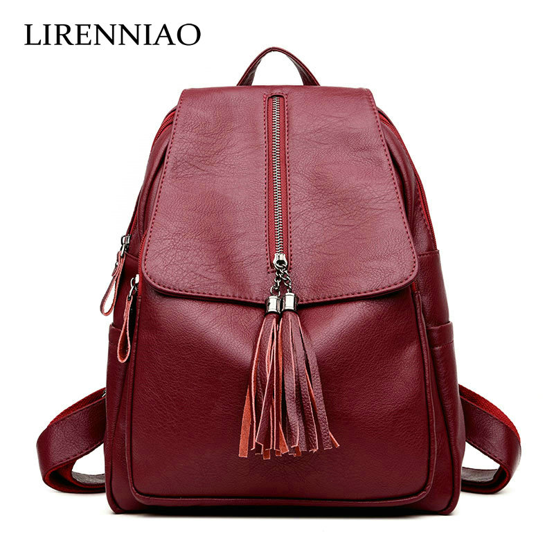 LIRENNIAO New 2017 Fashion Women Backpack Big Crown Embroidered Sequins Backpack Wholesale Women Leather Backpack School