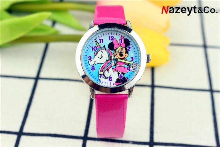 2019 Children Cute Cartoon Unicorn With Mickey Watch Fashion Pupil Noctilucent Quartz Strap Watch