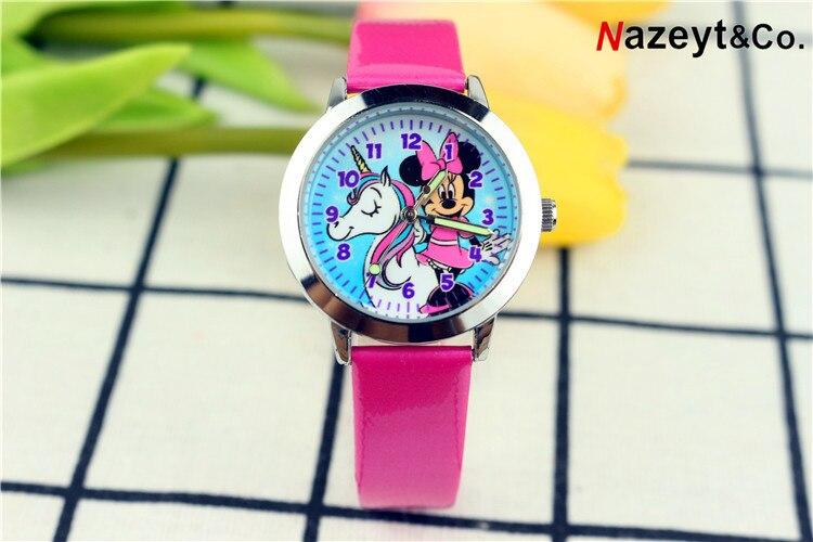 2019 Children Cute Cartoon Unicorn With Mickey Watch Fashion Pupil Noctilucent Quartz Strap Watch