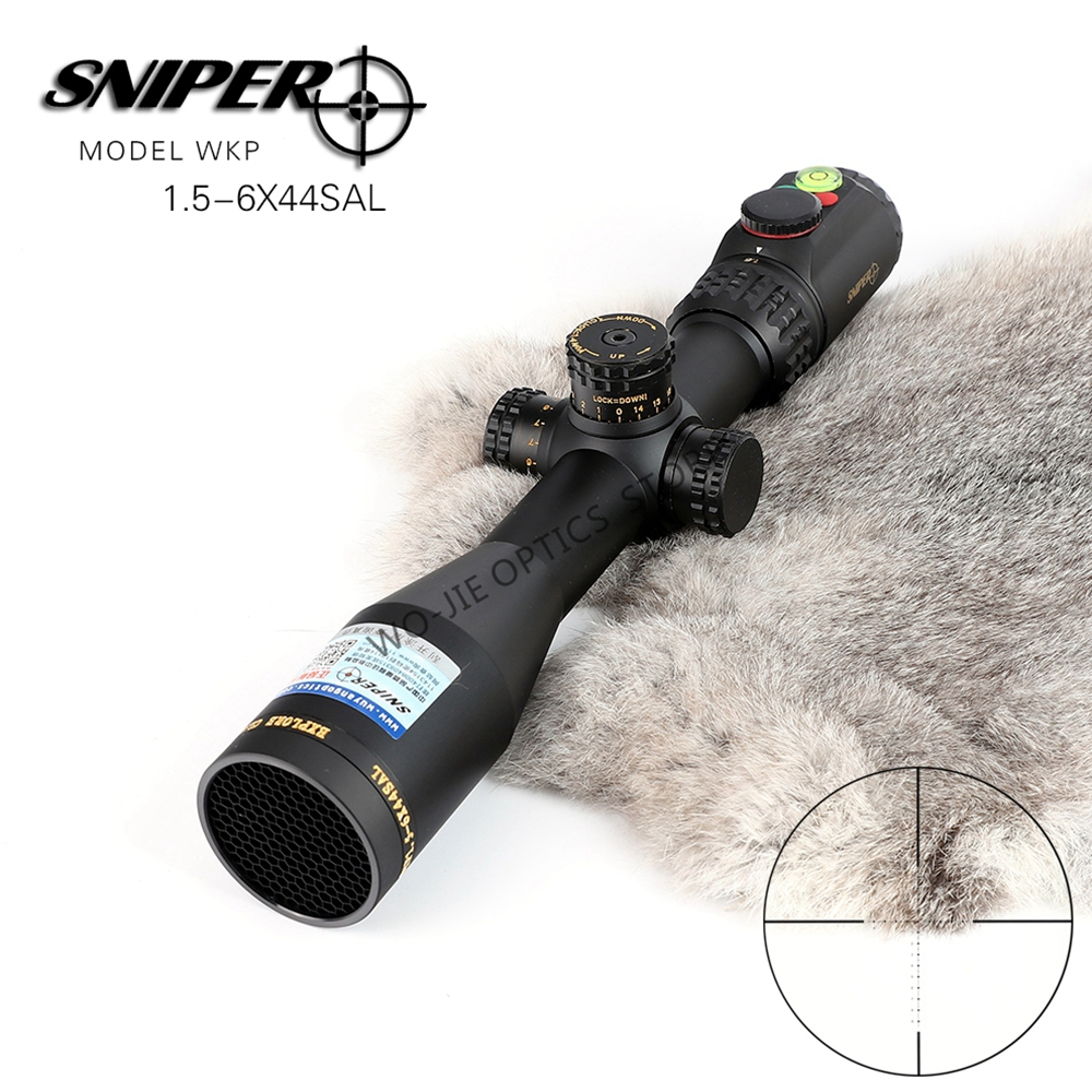 SNIPER1.5-6X24 Hunting Riflescopes Tactical Optical Sight Full Size Glass Etched Reticle RGB Illuminated Rifle Scope