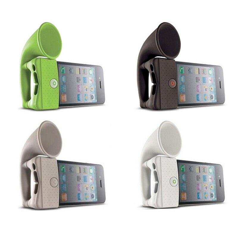 Bonito Silicone Horn Stand Speaker Portátil Altifalante Amplificador para Telefone cor aleatória