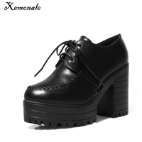 2016 New Women Ankle Boots For Autumn Women Lace Up High Heels Platfrom Motorcycle Boot Shoes