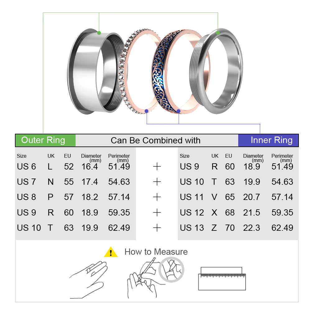 Floya Zircon เปลี่ยนแหวนเคลือบด้านในแหวน Reversible สแตนเลส Arctic Symphony แหวนชุด Bague