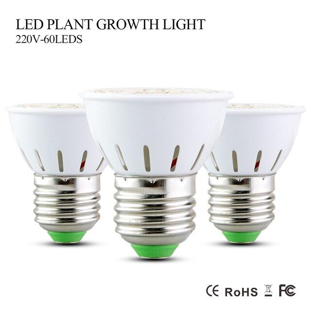 Полный спектр 5 W светодиодный светать AC 220 V E27 41 красный + 19 синий 60 светодиодный s лампа огни для растений цветы Крытая Гидропоника H