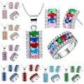 Стерлингового Серебра 925 Устанавливает Цвет Кристалл Для Женщин Свадебные Украшения Стерлингового Серебра 925 Камень Кольцо Серьги Ожерелья Для Женщин