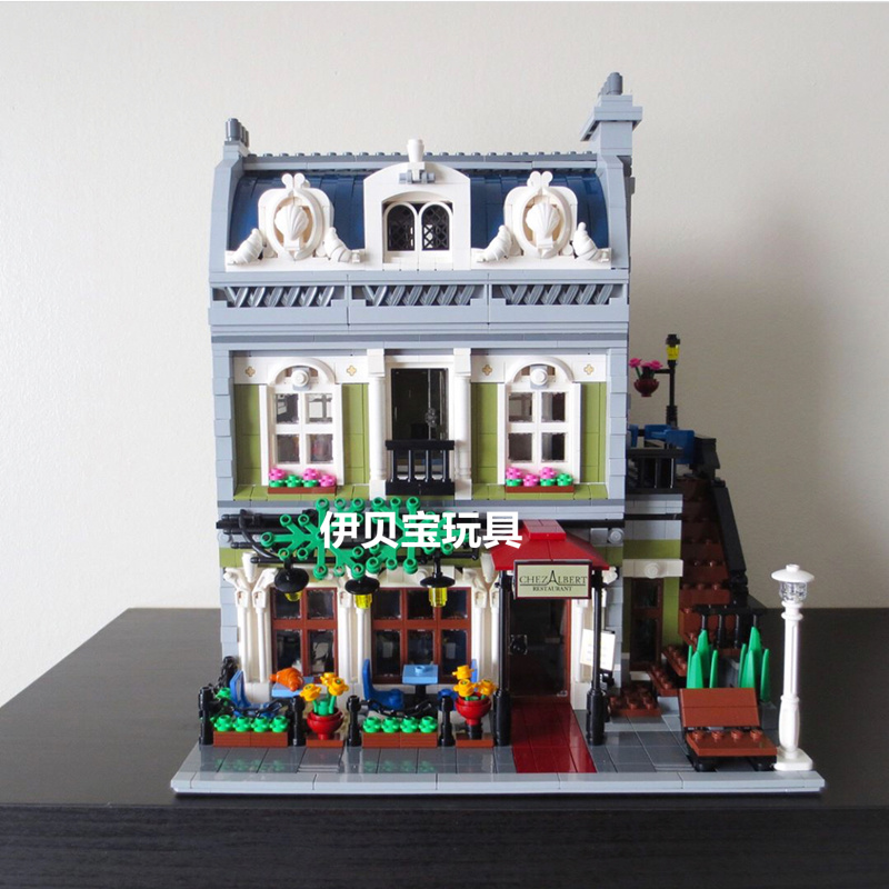 Lepin 15010 2418PCS Creator Expert City Street View Parisian Restaurant Model Building Blocks Sets Toys Compatible With 10243 city architecture mini street scene view reims cathedral police headquarters library fire departmen building blocks sets toys