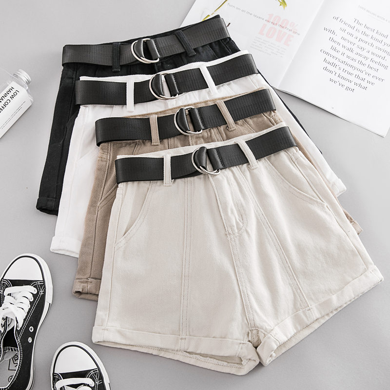 New Summer Autumn Casual Sashes Denim Shorts Women Wide High Waist Loose Leg Shorts Slim All-Match Sporting Shorts Female Mw432