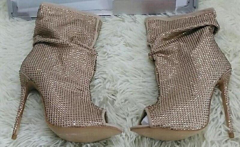 Taille Diamant Talons Bottes Brillant Ouvert Chaussures De Grande Cheville Bling Luxe Bout 10 Stiletto Cristal À Robe Femmes Or qf0PT