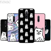 Rip middle finger Cat Silicone Case for Oneplus 7 7Pro 5T 6 6T Black Soft Case for Oneplus 7 7 Pro TPU Phone Cover