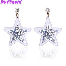 94930c50be17 Nuevo lindo de cristal de oro blanco brillante pentagrama aretes para las  mujeres Pentáculo de gran estrella Pendientes joyería .