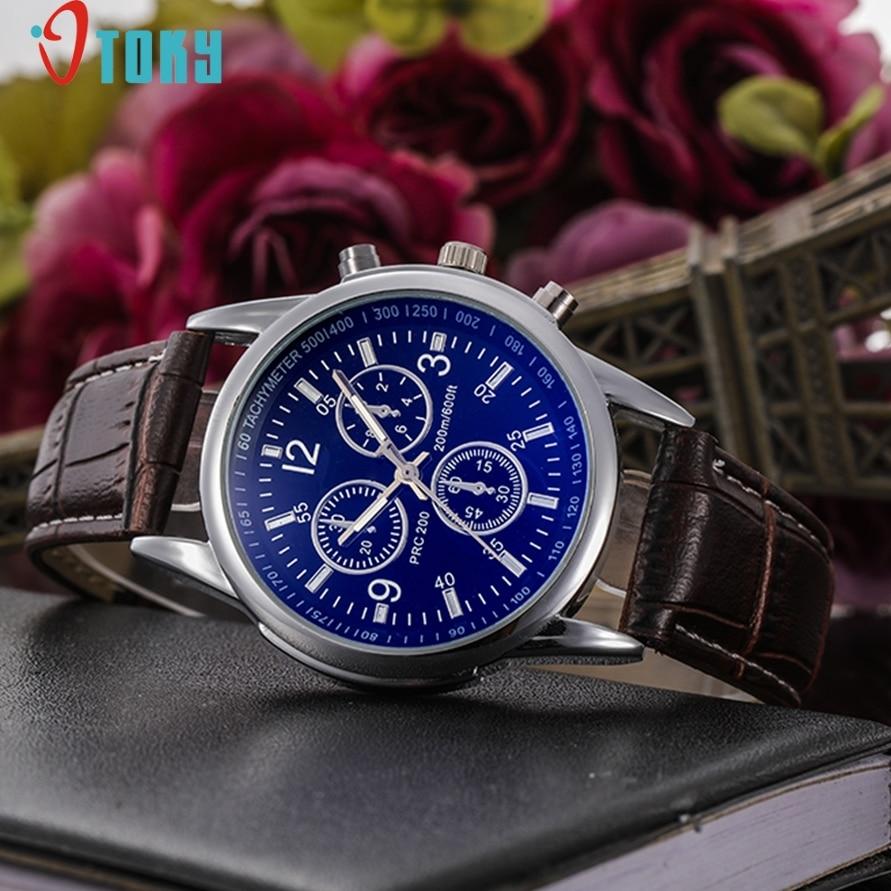 OTOKY Dressflow Casual Brown Faux Leather Analog Quartz Wrist Watch For Men Gift 170111 Drop Shipping
