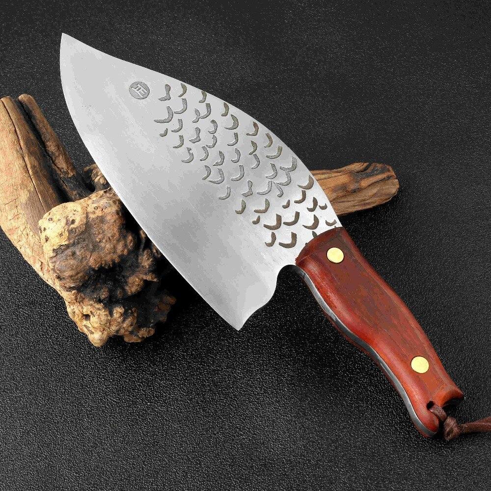 XITUO 8 بوصة شفرة اليدوية مزورة الصلب يرتدون المطبخ سكين 845g الكبير والثقيلة الشيف اللحوم الساطور جزار الأسماك سكين القاطع الخشب-في سكاكين مطبخ من المنزل والحديقة على  مجموعة 1