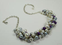 Ivory, Gray and Purple Pearl Chunky Necklace, Bridal Jewelry, Wedding Cluster , Purple Pearl Necklace MN022