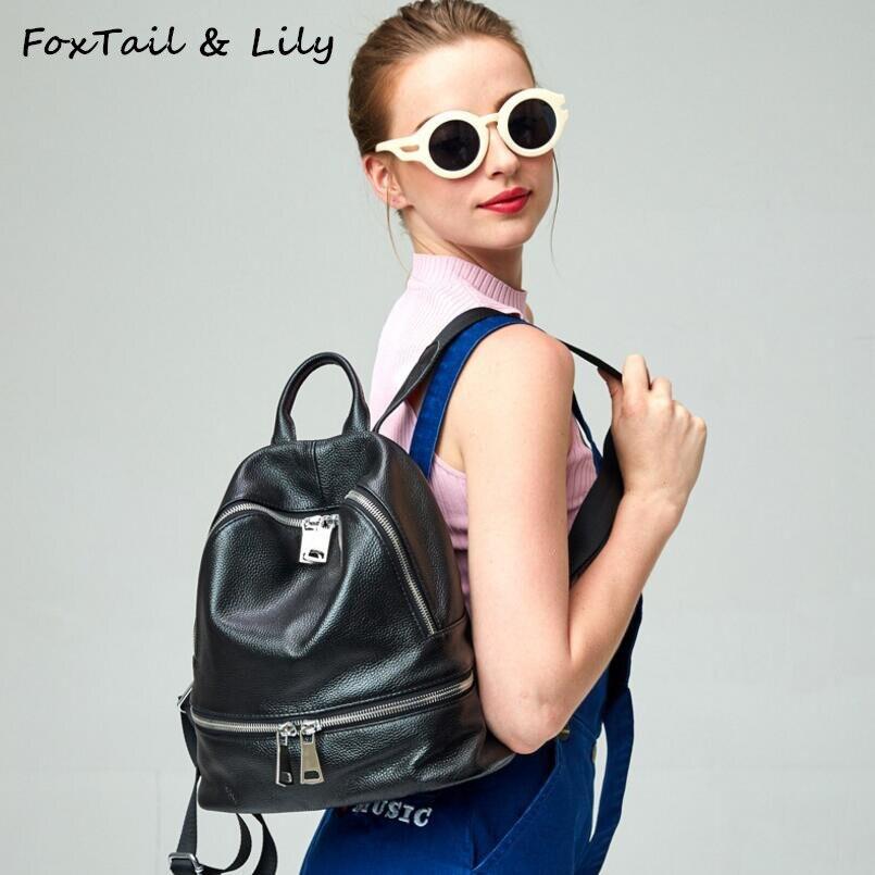 FoxTail & Lily luxe haut Designer en cuir véritable sac à dos filles école sacs à dos femmes Double sac à bandoulière sacs à dos d'ordinateur portable