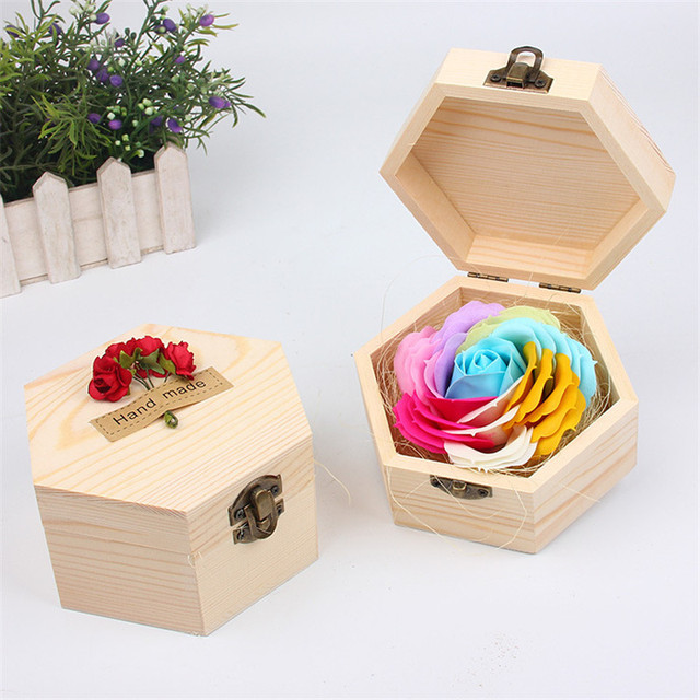 Us 8 99 30 Off Great Macaron Color Silk Artificial Flowers Rose Soap Flower Wooden Gift Box For Wife Valentine S Day Wedding Birthday Christmas In