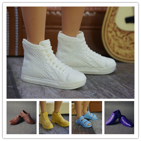 Free Shipping! 6 Pairs Fashion 1/6 Doll Shoes For Barbie Ken