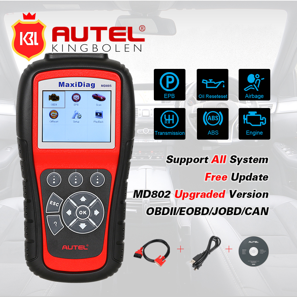 Latest version autel maxidiag md805 full system diagnostic tool support ols epb can