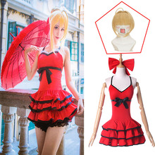 2019 Anime Fate Grand Order Nero Claudius Caesar Augustus Cosplay Costume Fate/Extra Saber Red Swimsuit with Wig