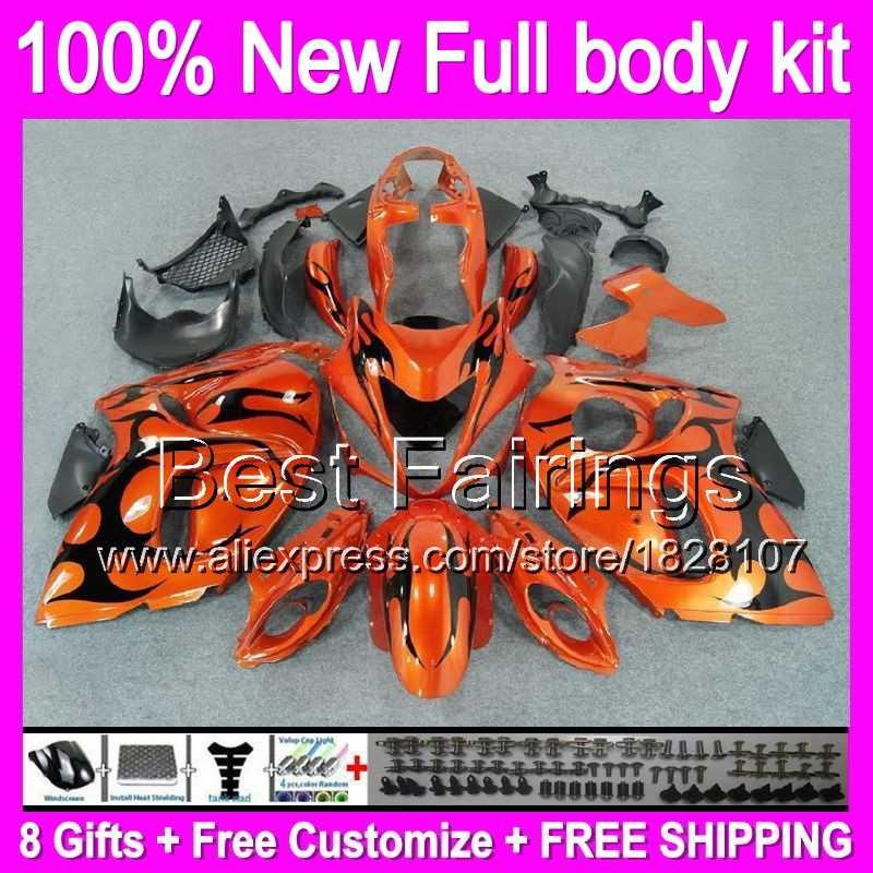 Orange hitam fairing untuk suzuki hayabusa gsxr1300 08 09 10 11 12 13 14 15 19B14 GSXR GSX R1300 1300 2008 2009 2010 2011 + Decal