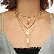 Vanmos 4 Styles Christian Virgin Mary Cross Pendant Multi Layers Choker Necklace Women Fashion Statement Jewelry Female Collar